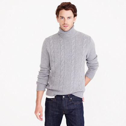 Italian cashmere cable turtleneck sweater