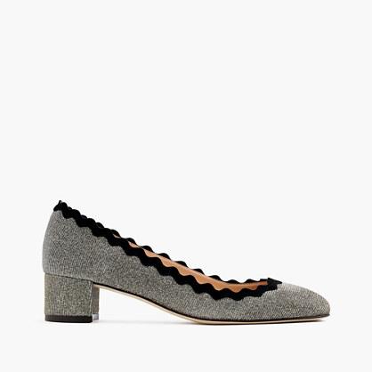 Glitter scalloped heels