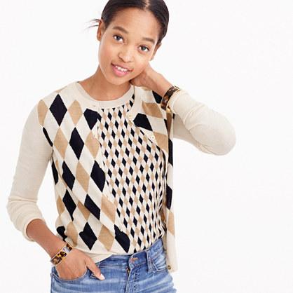 Lightweight wool Jackie cardigan sweater in argyle