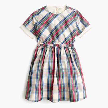 Girls' tulle-hem dress in festive plaid