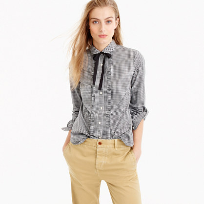 Gingham ruffle button-up with grosgrain tie