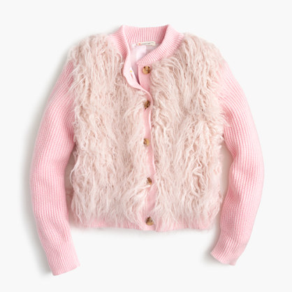 Girls' faux-fur cardigan jacket