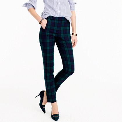 Cropped Maddie pant in Black Watch bi-stretch wool