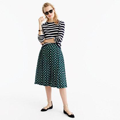 Double-pleated midi skirt in shadowbox print