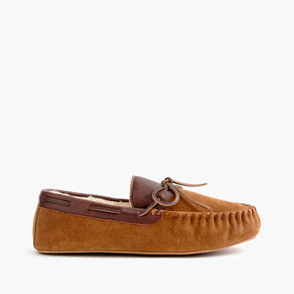 Suede-and-leather slippers