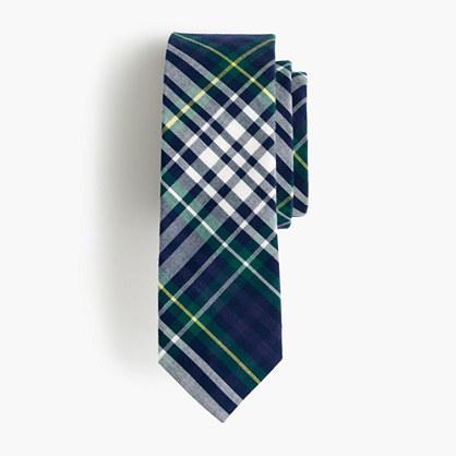 Boys' cotton tie in classic blue plaid