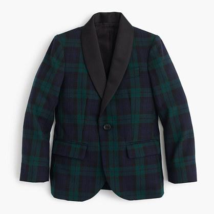 Boys' shawl-collar tuxedo jacket in Black Watch English wool