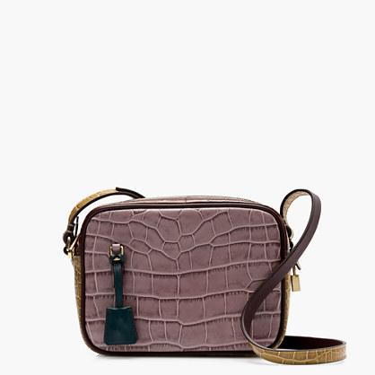 Signet bag in croc-embossed Italian leather