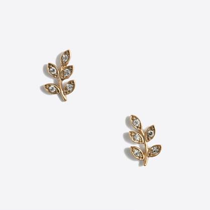 Crystal leaf stud earrings
