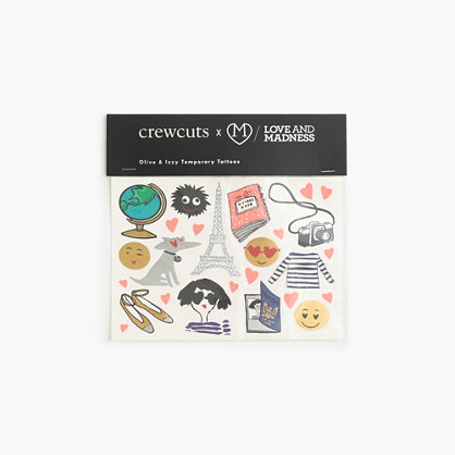 "Kids' crewcuts x Love and Madnessâ""¢ Olive and Izzy temporary tattoos"