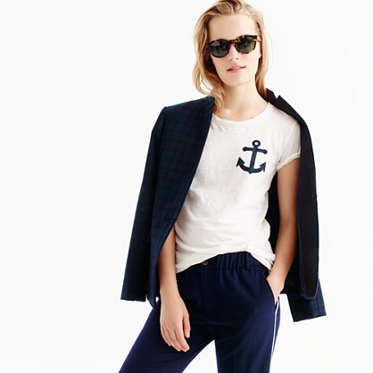 Black Watch plaid anchor T-shirt