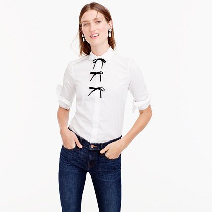 Collection Thomas Mason® for J.Crew perfect shirt with velvet bows