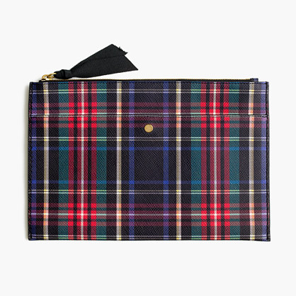 Large pouch in stewart plaid Italian leather