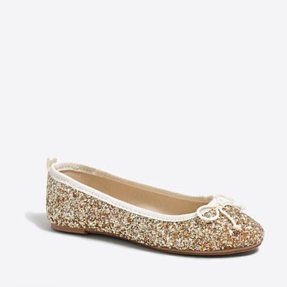 Girls' glitter ballet flats