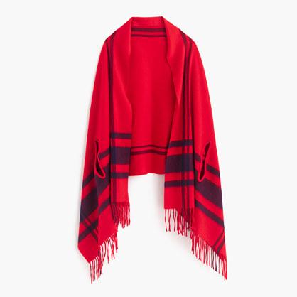 Plaid cape-scarf