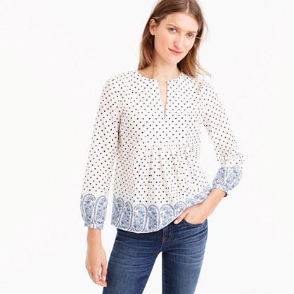 Tall popover top in polka-dot paisley print