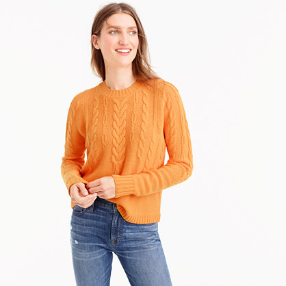 Italian cashmere tie-back cable sweater