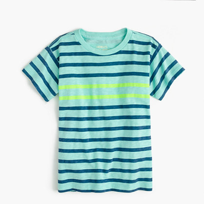 Boys' neon double-striped T-shirt