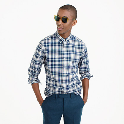 Lightweight oxford in blue check