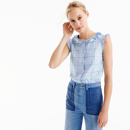 Tall pleated ruffle top in windowpane