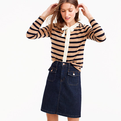 Jackie tie-neck cardigan sweater in stripes