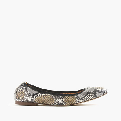 Lea ballet flats in snakeskin-printed leather