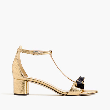 Metallic ankle-strap sandals