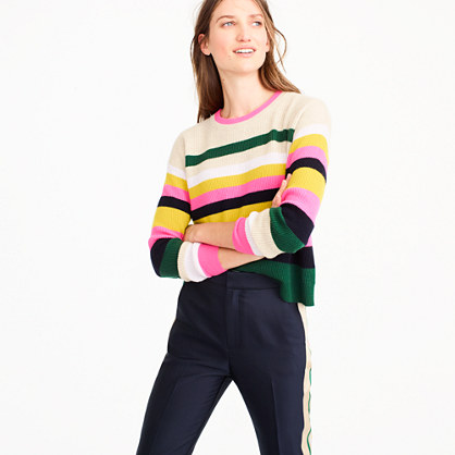 Pop-stripe Italian cashmere sweater