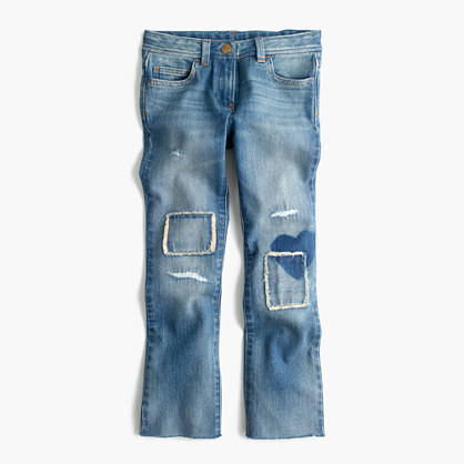 Girls' patched cropped jean
