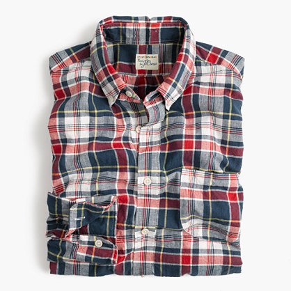 Madras shirt in navy ink plaid