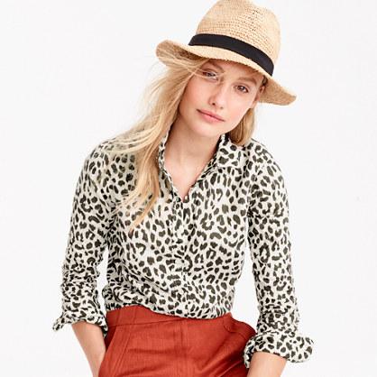 Petite cotton-linen perfect shirt in leopard print