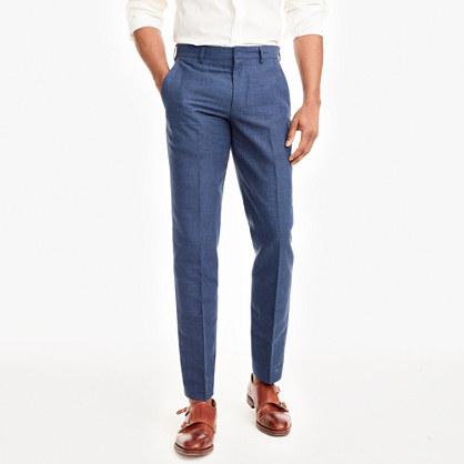 Slim Thompson suit pant in glen plaid linen-cotton