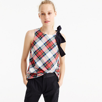 Bow-shoulder top in festive plaid