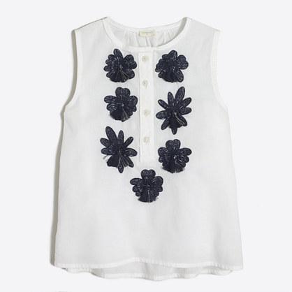 Girls' embroidered flower shell
