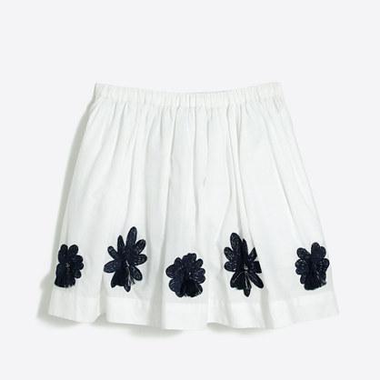 Girls' embroidered flower skirt