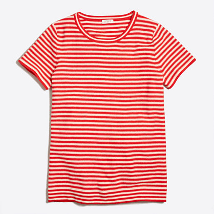 Short-sleeve striped sweater T-shirt
