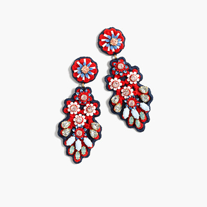 Embroidered crystal earrings