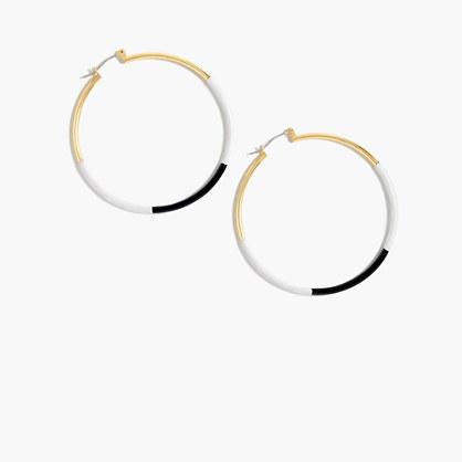 Dipped enamel hoop earrings