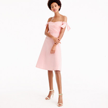 Petite tie-shoulder dress in seersucker