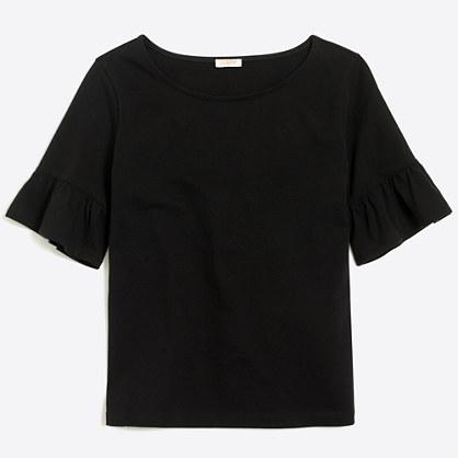 Ruffle-sleeve T-shirt