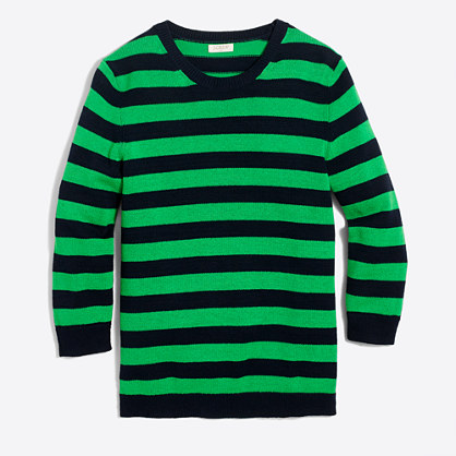 Striped three-quarter sleeve sweater