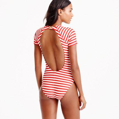 Open-back short-sleeve swimsuit in classic stripe