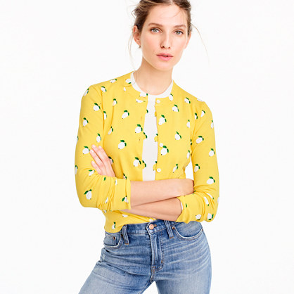 Cotton Jackie cardigan sweater in lemon print