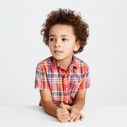 Kids' short-sleeve shirt in madras plaid