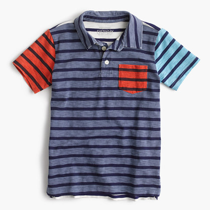 Boys' polo shirt in stripe mash-up