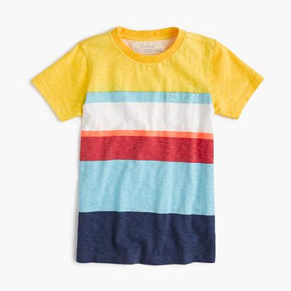 Boys' pocket T-shirt in mixed stripe