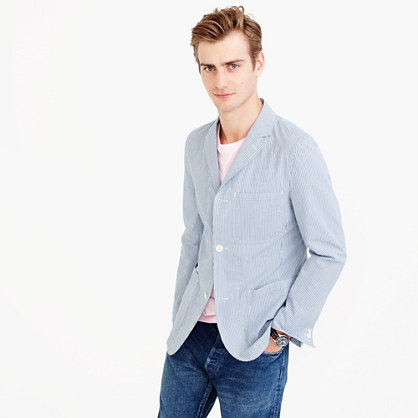 Unstructured blazer in seersucker