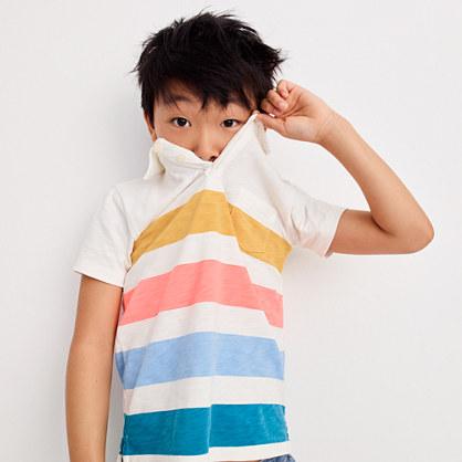 Boys' short-sleeve polo shirt in quad stripe