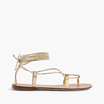 Metallic lace-up sandals