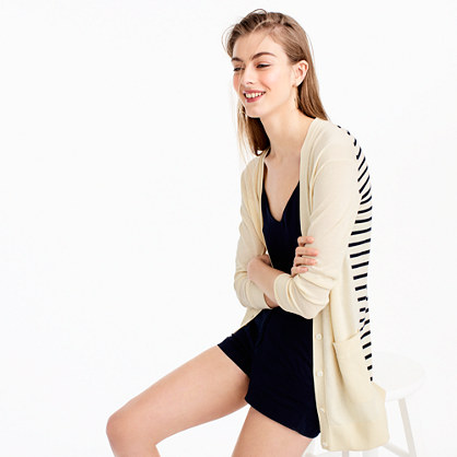 Long cardigan sweater with striped back